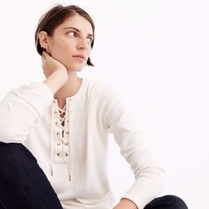 J. Crew // White Lace Up Front Tunic Sweatshirt S